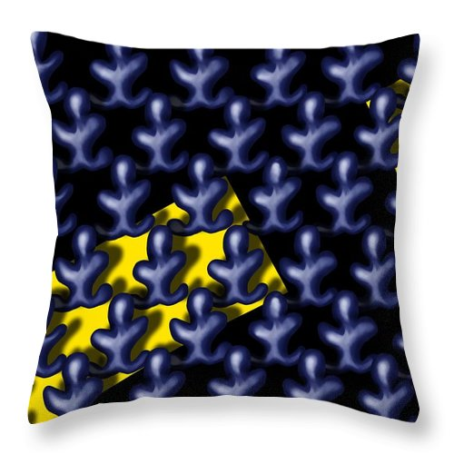 Surrealism Throw Pillow featuring the digital art Raindance III - March Of The Blue People by Robert Morin