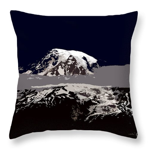 Mt Rainier Throw Pillow featuring the painting Rainier by David Lee Thompson