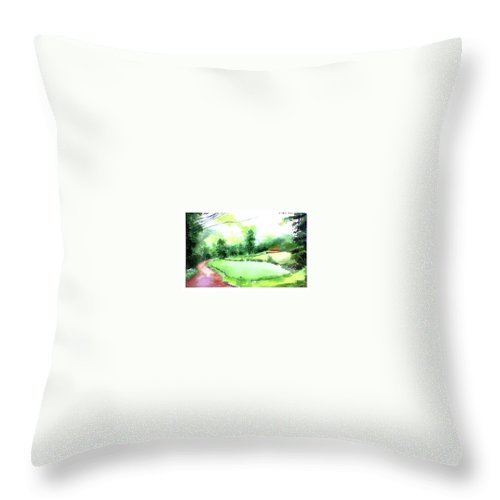 Landscape Throw Pillow featuring the painting Rains In West by Anil Nene