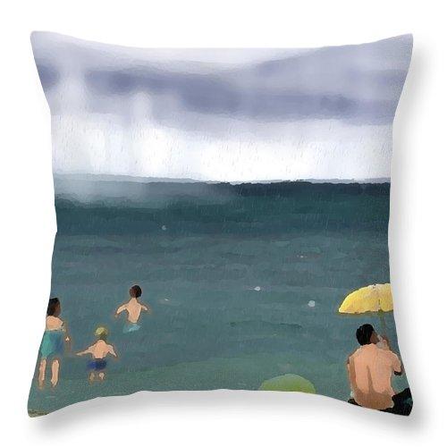 Beach Throw Pillow featuring the digital art Rainy Beach by Arline Wagner