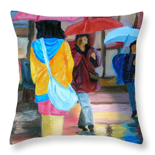 Rainy City Throw Pillow featuring the painting Rainy City by Michael Lee