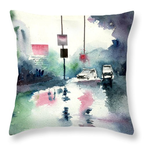 Nature Throw Pillow featuring the painting Rainy Day by Anil Nene