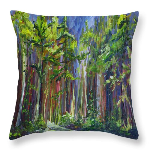 Forest Throw Pillow featuring the painting Rainy Day At Nutimik Lake by Joanne Smoley