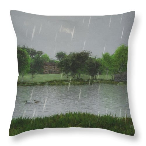 Rainy Day At The Lake Throw Pillow featuring the digital art Rainy Day At The Lake by Jayne Wilson