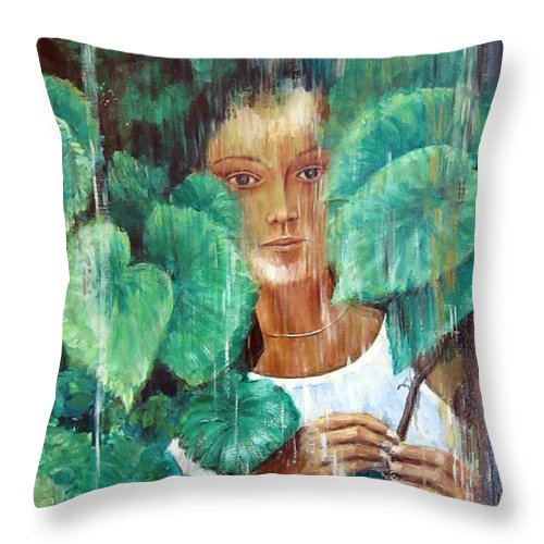 Rainy Day Throw Pillow featuring the painting Rainy Day by Leonardo Ruggieri