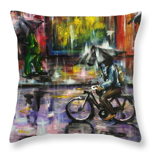 Town Streets Throw Pillow featuring the painting Rainy day original painting by Natalja Picugina