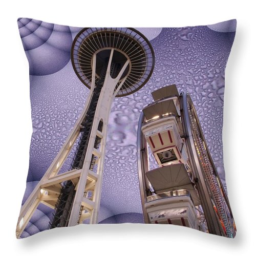 Seattle Throw Pillow featuring the digital art Rainy Needle by Tim Allen