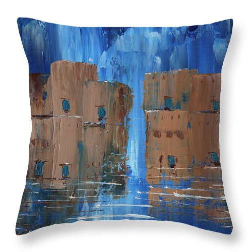 Blue Brown Rain Adobe Throw Pillow featuring the painting Rainy Night At The Pueblo by Koni Webb Bosch