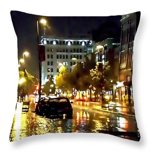 Lauren Radke Throw Pillow featuring the photograph Rainy Night In Green Bay by Lauren Radke