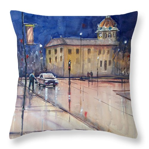Watercolor Throw Pillow featuring the painting Rainy Night In Green Bay by Ryan Radke