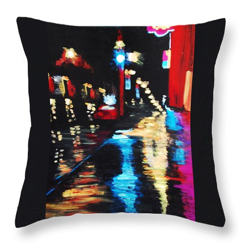 Acrylic Throw Pillow featuring the painting Rainy Night by Lauren Luna