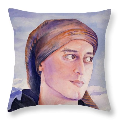Man In Ski Cap Throw Pillow featuring the painting Ram by Judy Swerlick