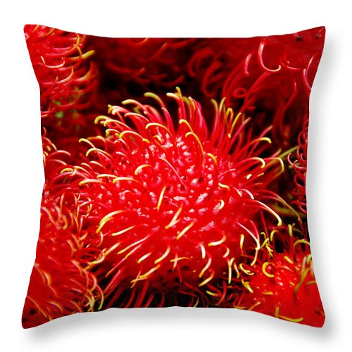 Rambutan Fruits Throw Pillow featuring the photograph Rambutan by Dragica Micki Fortuna