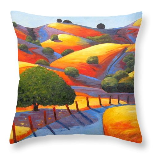 Twilight Throw Pillow featuring the painting Ranch Entry by Gary Coleman