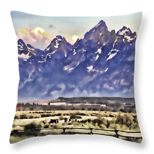 Grand Tetons Throw Pillow featuring the photograph Ranch In Style Of A Watercolor by Mark Andrews