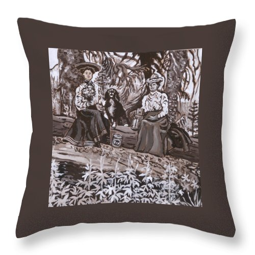 Historical Throw Pillow featuring the painting Ranch Women Picking Berries Historical Vignette by Dawn Senior-Trask