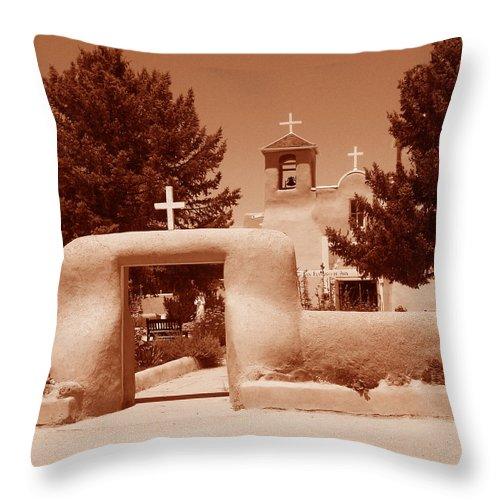 Church Throw Pillow featuring the photograph Ranchos De Taos Church  New Mexico by Wayne Potrafka