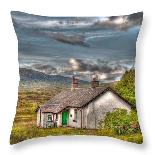 Rannoch Throw Pillow featuring the photograph Rannoch Railway Station View by Chris Thaxter