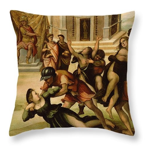 Rape Of The Sabines Throw Pillow featuring the painting Rape Of The Sabines by Girolamo del Pacchia