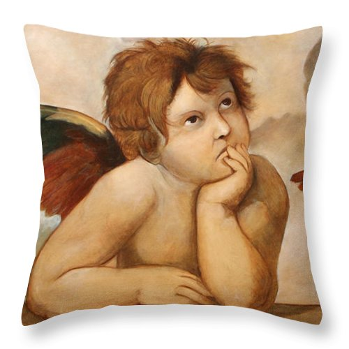 Religious Throw Pillow featuring the painting Raphael Angels by Darko Topalski