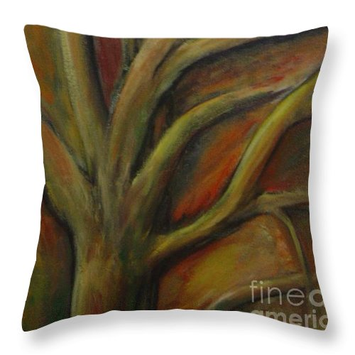 Tree Abstract Painting Expressionist Original Leila Atkinson Throw Pillow featuring the painting Rapt by Leila Atkinson