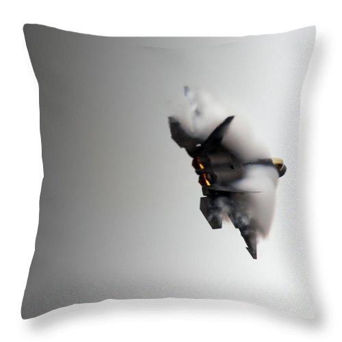 F-22 Throw Pillow featuring the photograph Raptor by Angel Ciesniarska