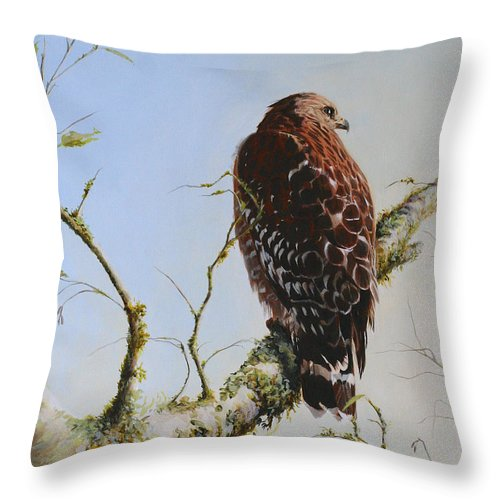 Bird Art Throw Pillow featuring the painting Raptor by Kimberly Wurster