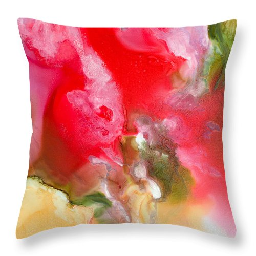Abstract Throw Pillow featuring the painting Rapture - B - by Sandy Sandy