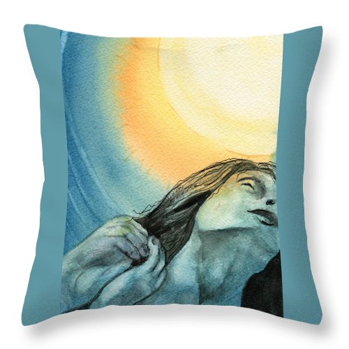 Watercolor Throw Pillow featuring the painting Rapture by Brenda Owen