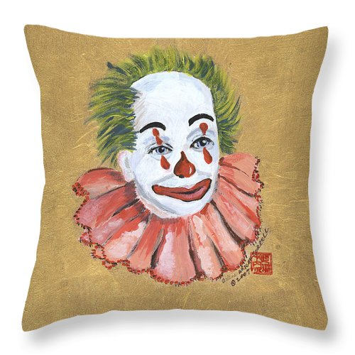 Rascal The Clown Throw Pillow featuring the painting Rascal The Clown by Arlene Wright-Correll