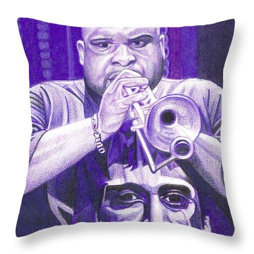 Rashawn Ross Throw Pillow featuring the drawing Rashawn Ross by Joshua Morton