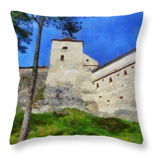 Fortress Throw Pillow featuring the painting Rasnov Fortress by Jeffrey Kolker