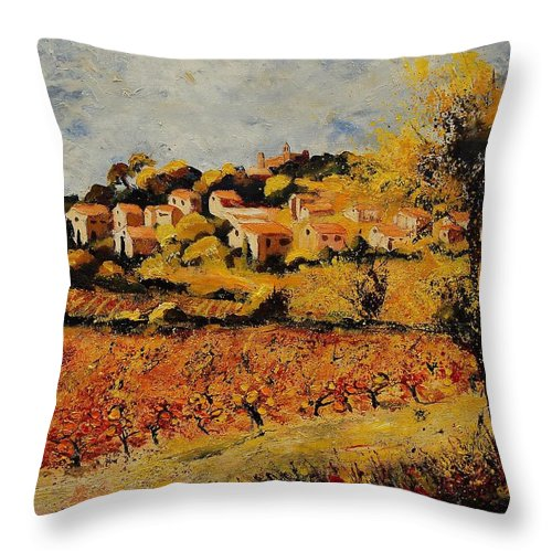 Provence Throw Pillow featuring the painting Rasteau Vaucluse by Pol Ledent