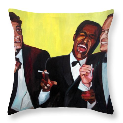 Portrait Stars Throw Pillow featuring the painting Rat Pack by Carmen Stanescu Kutzelnig