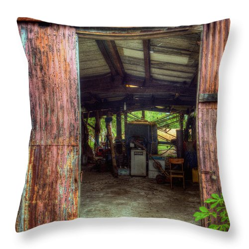 Rats Castle Throw Pillow featuring the digital art Rats Castle Farm Machinery Shed by Nigel Bangert