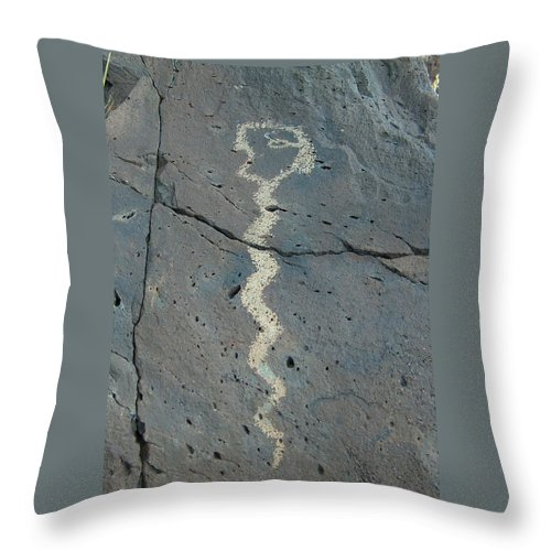 Rattlesnake Throw Pillow featuring the photograph Rattlesnake Petroglyph 2 by Tim McCarthy