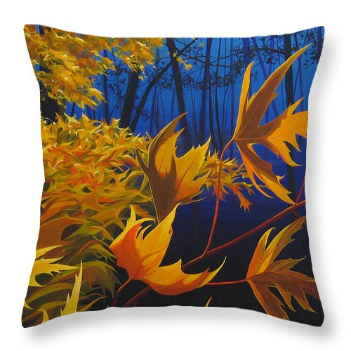 Autumn Leaves Throw Pillow featuring the painting Raucous October by Hunter Jay