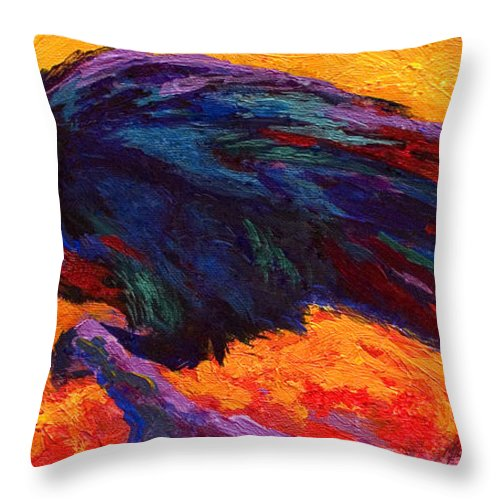 Crows Throw Pillow featuring the painting Raven by Marion Rose