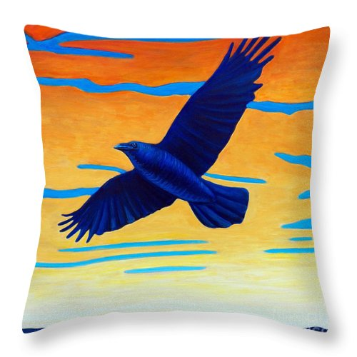 Raven Throw Pillow featuring the painting Raven Rising by Brian Commerford