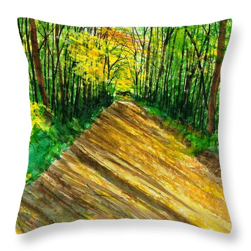 Landscape Throw Pillow featuring the painting Raven Rocks 2 by David Bartsch