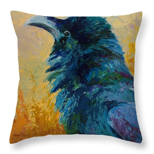 Crows Throw Pillow featuring the painting Raven Study by Marion Rose