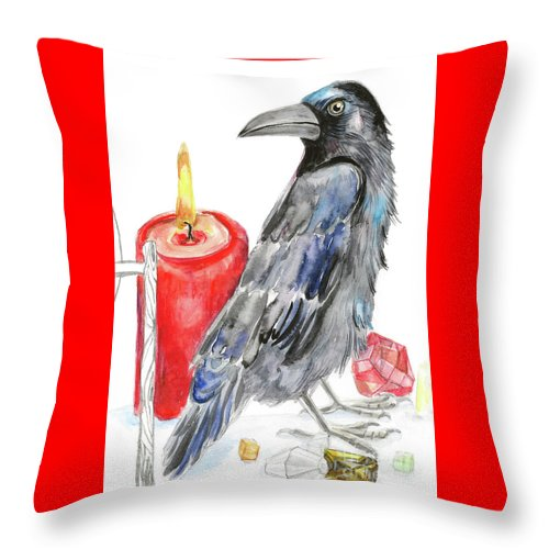 Raven Throw Pillow featuring the painting Raven by Yana Sadykova