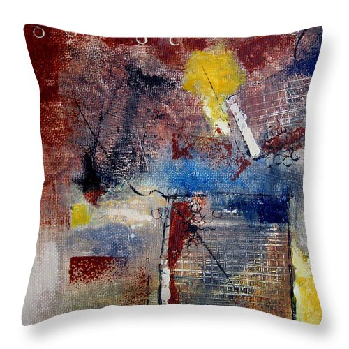 Abstract Throw Pillow featuring the painting Raw Emotions II by Ruth Palmer