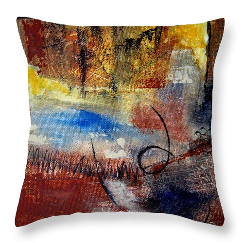 Abstract Throw Pillow featuring the painting Raw Emotions by Ruth Palmer
