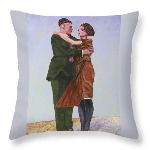 Double Portrait Throw Pillow featuring the painting Ray And Isabel by Stan Hamilton
