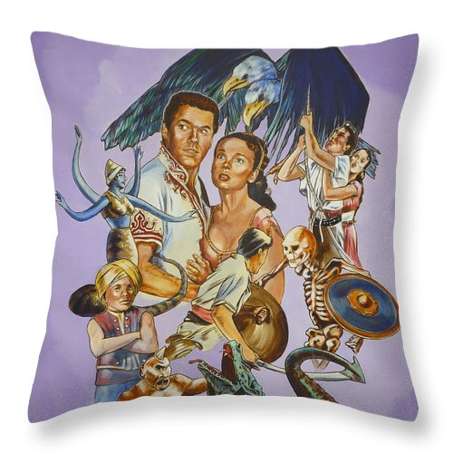Movie Throw Pillow featuring the painting Ray Harryhausen Tribute Seventh Voyage Of Sinbad by Bryan Bustard