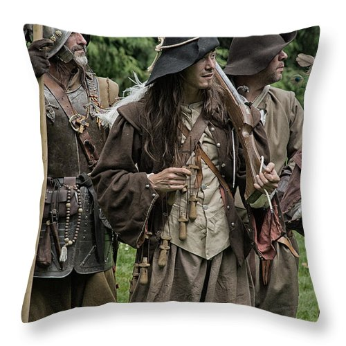Re-enactment Soldiers Throw Pillow featuring the photograph Re-enactment Soldiers by Brothers Beerens