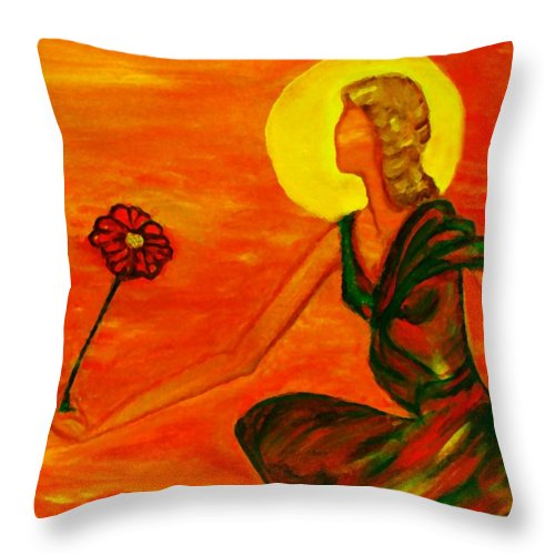 Figure Expressionism Throw Pillow featuring the painting Reach Out by Robin Monroe