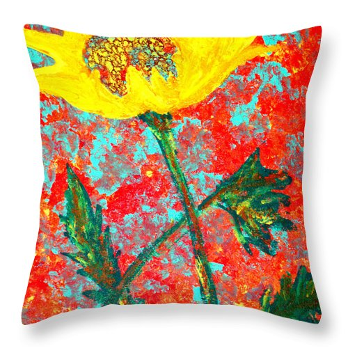 Flower Throw Pillow featuring the painting Reaching For The Sun by Wayne Potrafka