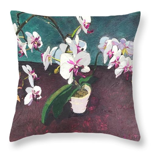 Recycled Throw Pillow featuring the mixed media Reaching by Leah Tomaino